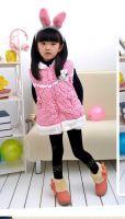 New Fashion Little Flower Print Rabbit Cute Girls Winter Vest Hoodie Children Clothing