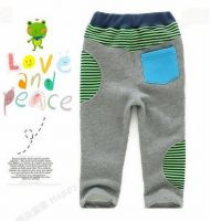 2013 New Arrival Lovely Strip Pockets Applique Warm Baby Boys Winter Pants with Velvet