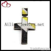 Fashion alloy hiphop cross pendant with rhinestone