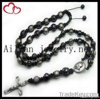 disco ball beads rosary, shamballa beads rosary with pendant