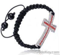 2012 latest fashion shamballa alloy rhinestone cross bracelets