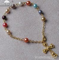 rosary bracelet, Multi Color Imitated Glass Pearl Bead Rosary Bracelet