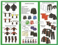 rugby shorts, rugby shirts, track suits, training tops, compression suits, rain suits, cardura jackets,training mesh