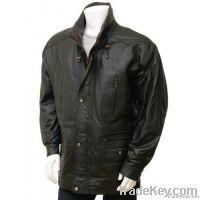 Men's Leather Coat in Black Ostrava