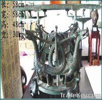 bronze antique imitation: Dragon and Phoenix Square Platform