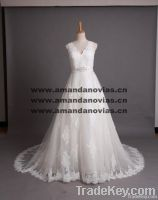 2013 New A line Beautiful Lace Applique Wedding Dress 003