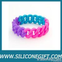 silicone wristband, curb chain bracelet