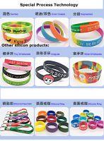 Custom Silk screen heat transfer printing logo silicon wristband rubber bracelet