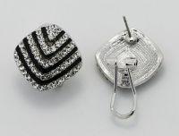Noble Stripes Printing Austria Rhinestones Stud Earrings For Women