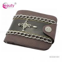 Cross Skull Alloy Metal PU Artificial Leather Wallet