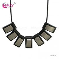 Punk Style Black PU Leather Necklace With Mental Pendant