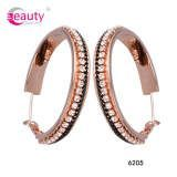 Charming Wholesale Hoop Earrings with Fashion Rose Gold Diamond