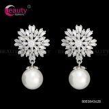 Shinning Snowflake Shape Pearl Earrings Jewelry for Women