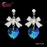 Wholesale Elegant Blue Crystal Earrings with Lovely Sliver Bow