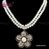 Elegant Pearl Chain Necklace Jewelry with Flower Pendant