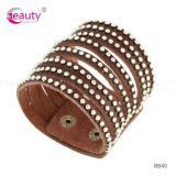 Fashion Style Simple Design Brown Leather Bracelet for Men