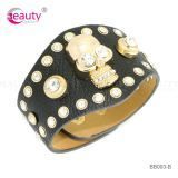 Punk Style Black Genuine Leather Bracelets with Golden Skull Accessories