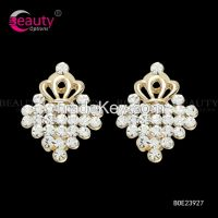 Lovely Rhinestone Small Grown Clip Earrings Gifts for Gilrs