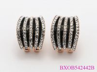 Black Elegant Fashion Crystal Clip Earrings