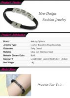 Punk Style Stainless Steel and PU Man-Made Leather Bracelet