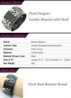 Punk Design Rock Style Metal Skull Leather Bracelet for Men