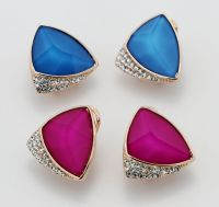 Botique Fashion Shiny Sapphire Geometric Clip on Earrings