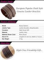 Fashion Punk Style Genuine Leather Bracelets for Men & Women