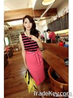 Elastic Waist Stripes Sleeveless Fashion Dress with Belt