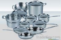 cookware set in stainless steel