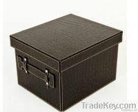 Leather folding storage box