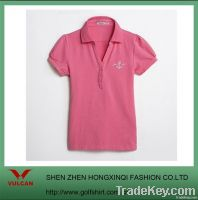 Slim Fit Lady Pink T-shirts with ribbed collar