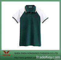 Dark Green Mens Leisure Shirt with ribbed collar