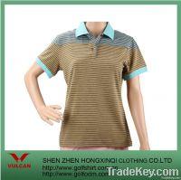 Cotton Spandex Stripe Women Golf Shirts