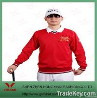 Red men's Golf wind rain coat with a collar