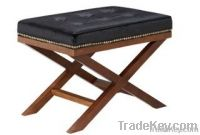 Low Price Leather Oak Ottoman