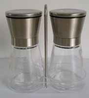 Low moq manual glass pepper and salt mill set
