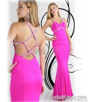 Mermaid Straps Beading Sleeveless Floor-length Chiffon Prom Dresses