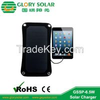 6.5W hot outdoor solar charger for mobile Ipad power bank