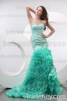 2013 Sexy Satin & Lace Beaded Meimaid Evening Dress
