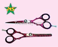 Professional Barber Razor Edge Hair Cutting Scissors & Shears Set Pink Zebra Set