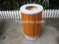 Outdoor wooden trash can site furnishing wooden street dustbin