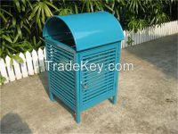 Powder coated metal park dustbin metal garbage can outdoor litter bin