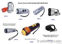 Mini Emergency LED Torch Radio With Siren and Blinking Battery Operate