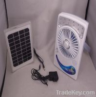 mini portable solar charge fan with 12 led light