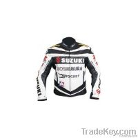 Classic Men's Black and white motorcycle jacket