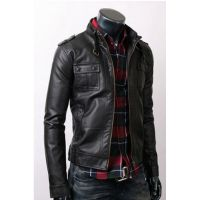 men black leather jacket,  with flap button pocket and belted collar