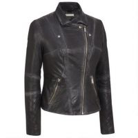 Hot selling black side zipper women motorcycle leather jacket