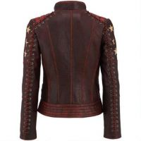 Women Black Leather Motorcycle Jacket
