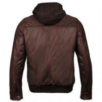 Winter used clothing men leather jacket hood