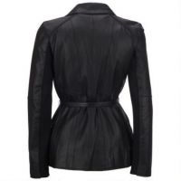 Womens Faux Leather Zip Up Bomber Jacket with Hood